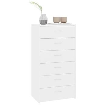 vidaXL Komoda z 6 szufladami, wysoki połysk, biała, 50 x 34 x 96 cm
