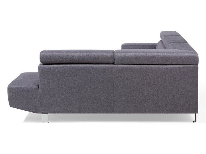 Narożnik lewostronny szary tapicerowany 5 osobowa sofa z regulowanymi zagłówkami W kształcie L Nóżki Na nóżkach Styl Nowoczesny