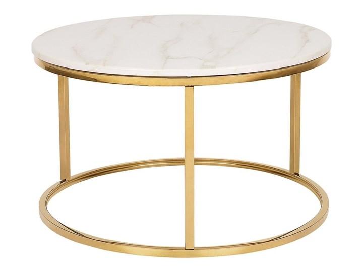Stolik kawowy biały efekt marmuru złota stalowa rama 43 x 70 cm styl glam Styl Glamour Metal Płyta MDF Rodzaj nóg Płozy