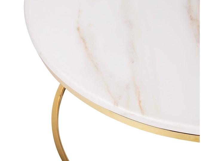 Stolik kawowy biały efekt marmuru złota stalowa rama 43 x 70 cm styl glam Płyta MDF Metal Styl Nowoczesny Styl Glamour