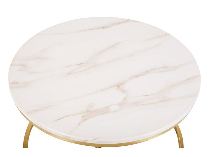 Stolik kawowy biały efekt marmuru złota stalowa rama 43 x 70 cm styl glam Płyta MDF Metal Styl Glamour