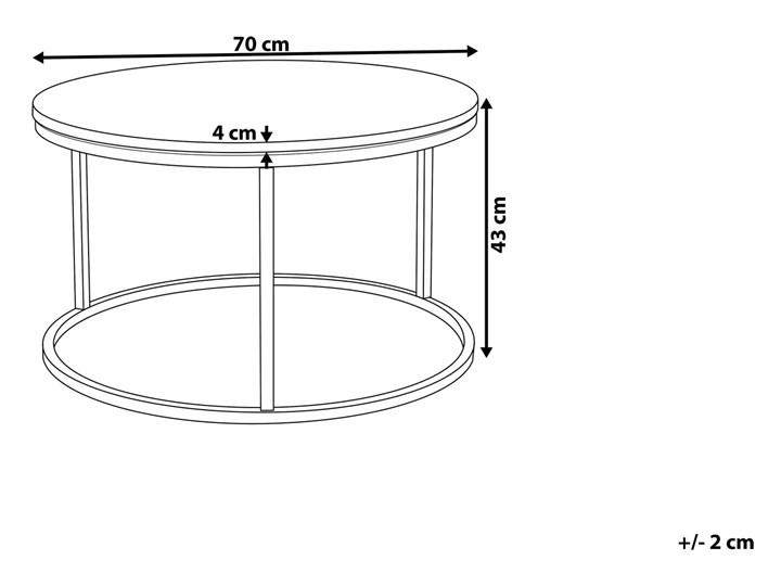 Stolik kawowy biały efekt marmuru złota stalowa rama 43 x 70 cm styl glam Metal Płyta MDF Rodzaj nóg Płozy