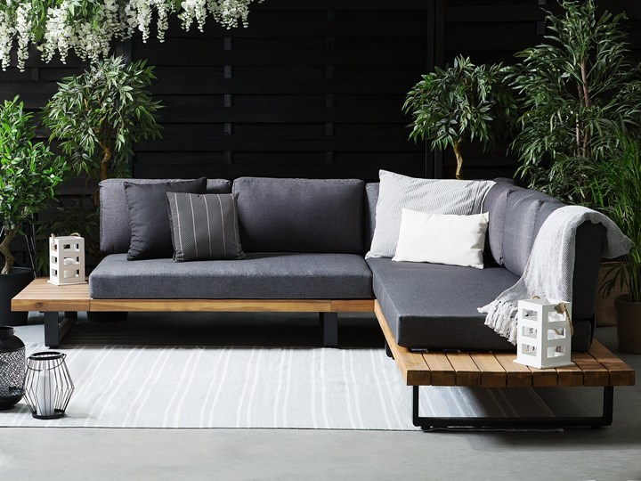 Zestaw mebli ogrodowych lite drewno akacjowe 5-osobowy szare poduchy modułowy narożnik stolik kawowy Tworzywo sztuczne Zestawy kawowe Kategoria Zestawy mebli ogrodowych Zestawy wypoczynkowe Zestawy modułowe Aluminium Zawartość zestawu Sofa