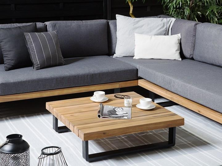 Zestaw mebli ogrodowych lite drewno akacjowe 5-osobowy szare poduchy modułowy narożnik stolik kawowy Zestawy wypoczynkowe Zestawy modułowe Aluminium Zestawy kawowe Tworzywo sztuczne Zawartość zestawu Sofa