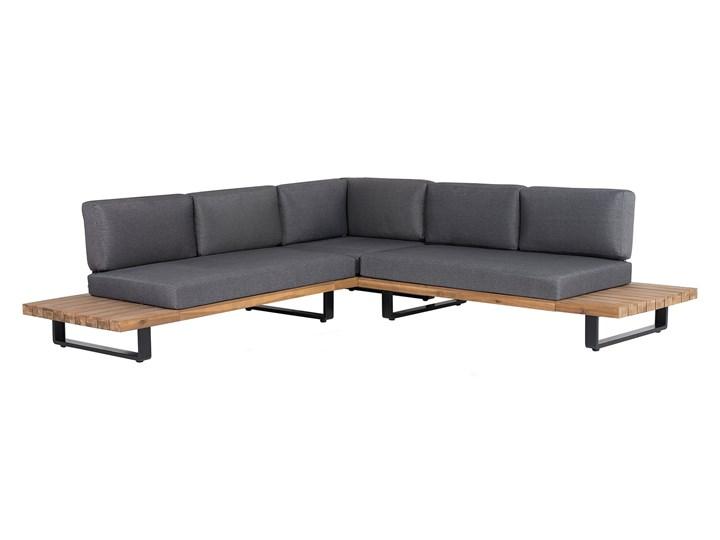 Zestaw mebli ogrodowych lite drewno akacjowe 5-osobowy szare poduchy modułowy narożnik stolik kawowy Zestawy kawowe Zestawy wypoczynkowe Aluminium Zestawy modułowe Tworzywo sztuczne Zawartość zestawu Sofa
