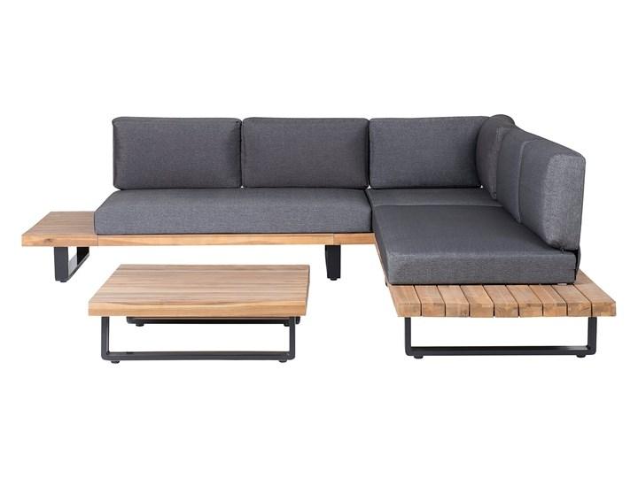 Zestaw mebli ogrodowych lite drewno akacjowe 5-osobowy szare poduchy modułowy narożnik stolik kawowy Styl Nowoczesny Zestawy modułowe Aluminium Zestawy wypoczynkowe Zestawy kawowe Tworzywo sztuczne Kategoria Zestawy mebli ogrodowych