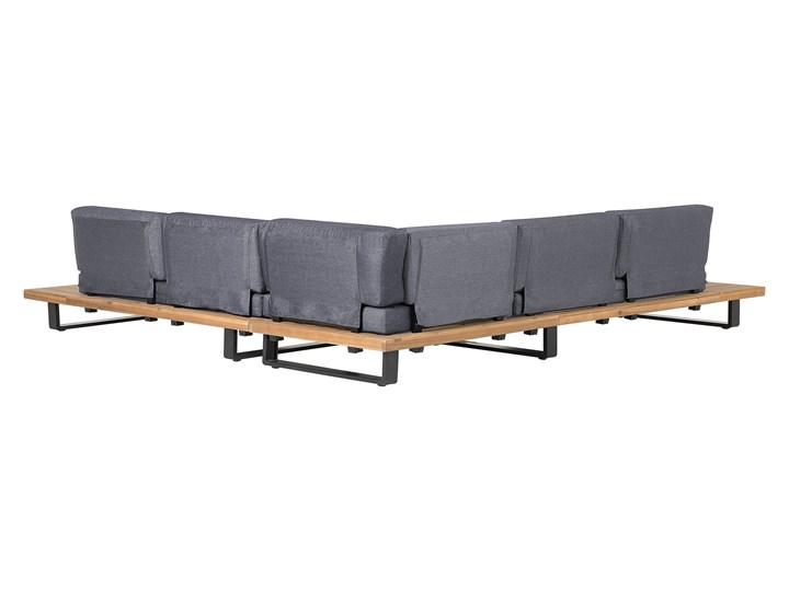 Zestaw mebli ogrodowych lite drewno akacjowe 5-osobowy szare poduchy modułowy narożnik stolik kawowy Zestawy modułowe Zestawy wypoczynkowe Zestawy kawowe Aluminium Tworzywo sztuczne Styl Nowoczesny