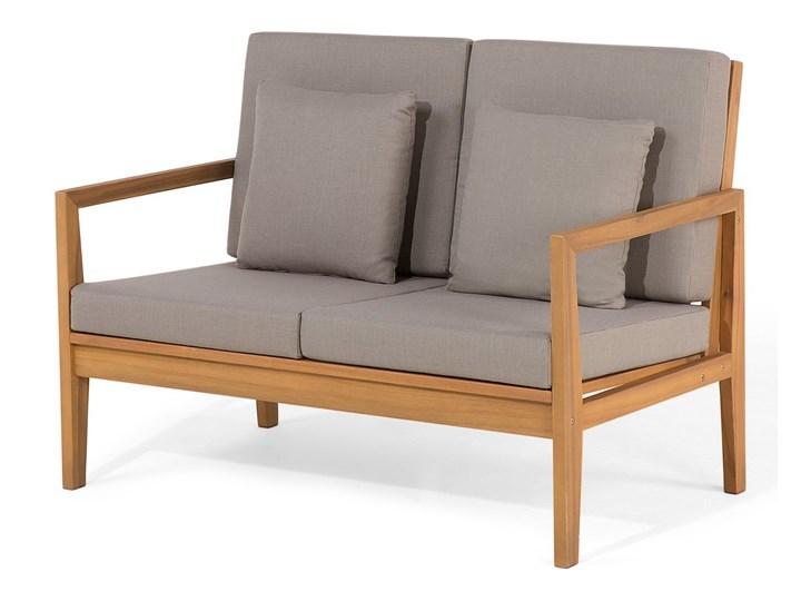 Zestaw ogrodowy szary jasne drewno akacjowe 2 ławki 1 fotel 1 leżak 1 stół poduchy retro Zestawy wypoczynkowe Tworzywo sztuczne Zestawy kawowe Kategoria Zestawy mebli ogrodowych
