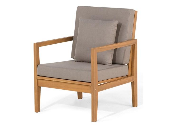 Zestaw ogrodowy szary jasne drewno akacjowe 2 ławki 1 fotel 1 leżak 1 stół poduchy retro Zestawy wypoczynkowe Tworzywo sztuczne Zestawy kawowe Styl Vintage Zawartość zestawu Stolik