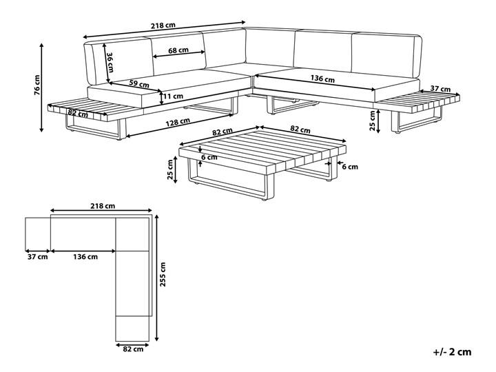 Zestaw mebli ogrodowych lite drewno akacjowe 5-osobowy szare poduchy modułowy narożnik stolik kawowy Zawartość zestawu Sofa Aluminium Zestawy wypoczynkowe Zestawy modułowe Zestawy kawowe Tworzywo sztuczne Styl Nowoczesny