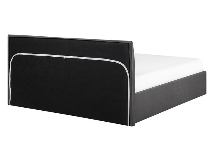 Łóżko ze stelażem szare tapicerowane materiałem z pojemnikiem 160 x 200 cm minimalistyczny wygląd Łóżko tapicerowane Styl Nowoczesny