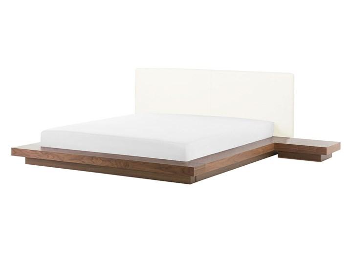 Łóżko ciemne drewno 160 x 200 cm 2 stoliki nocne wysoki zagłówek styl japoński Kategoria Łóżka do sypialni Łóżko skórzane Łóżko drewniane Kolor Brązowy