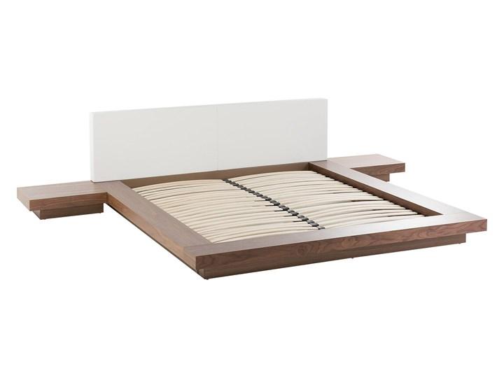 Łóżko ciemne drewno 160 x 200 cm 2 stoliki nocne wysoki zagłówek styl japoński Łóżko skórzane Łóżko drewniane Kategoria Łóżka do sypialni