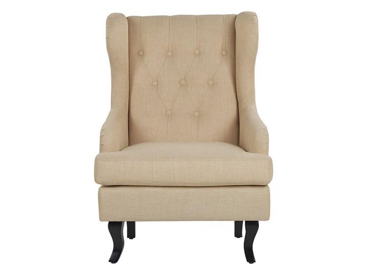Fotel uszak beżowy tapicerowany pikowany wysokie oparcie vintage retro salon Drewno Fotel tradycyjny Fotel pikowany Tworzywo sztuczne Tkanina Kategoria Fotele do salonu
