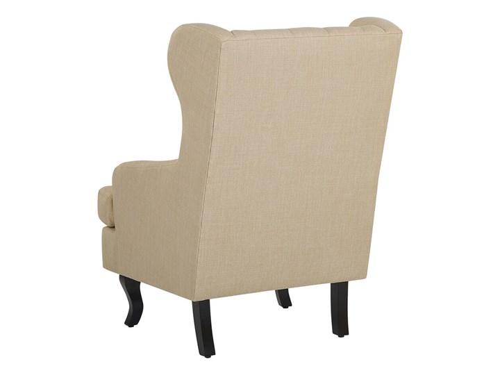 Fotel uszak beżowy tapicerowany pikowany wysokie oparcie vintage retro salon Fotel tradycyjny Tworzywo sztuczne Drewno Tkanina Fotel pikowany Styl Nowoczesny