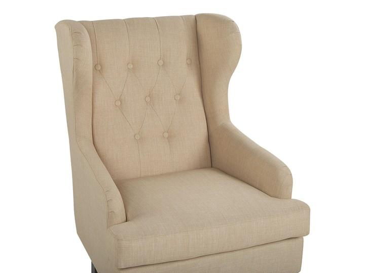 Fotel uszak beżowy tapicerowany pikowany wysokie oparcie vintage retro salon Tkanina Tworzywo sztuczne Fotel pikowany Drewno Fotel tradycyjny Kategoria Fotele do salonu