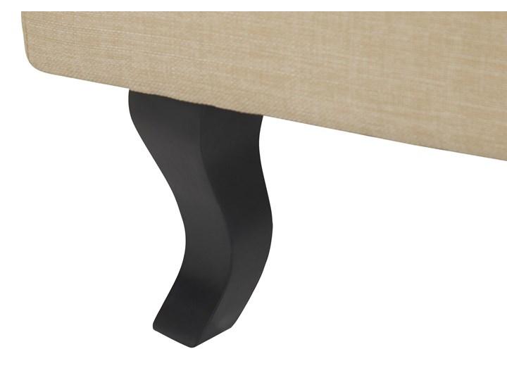 Fotel uszak beżowy tapicerowany pikowany wysokie oparcie vintage retro salon Tkanina Tworzywo sztuczne Styl Klasyczny Drewno Fotel tradycyjny Fotel pikowany Styl Nowoczesny