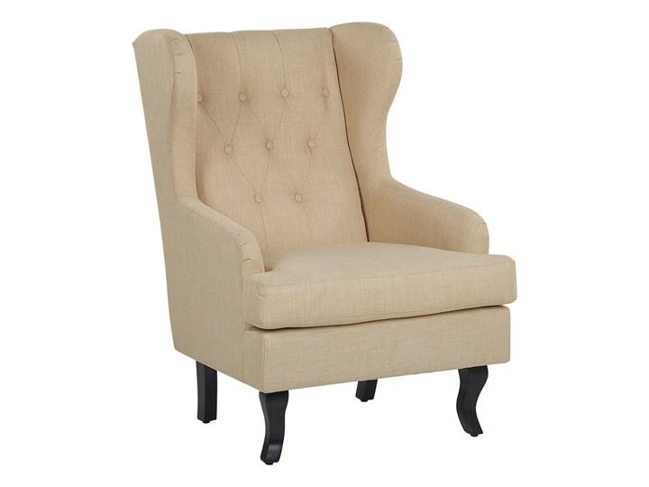 Fotel uszak beżowy tapicerowany pikowany wysokie oparcie vintage retro salon Fotel pikowany Tworzywo sztuczne Szerokość 66 cm Głębokość 78 cm Tkanina Wysokość 100 cm Fotel tradycyjny Drewno Styl Klasyczny