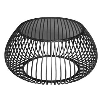 Druciany stolik kawowy szklany grafitowy blat Ø75 x 36,5 cm TOYJ19-526