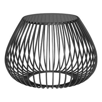 Druciany stolik kawowy szklany grafitowy blat Ø58 x 40,5 cm TOYJ19-527