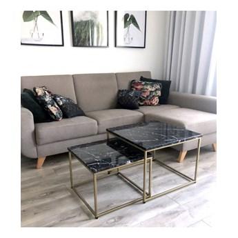 NOEMI - komplet złotych stolików z czarnym marmurowym blatem