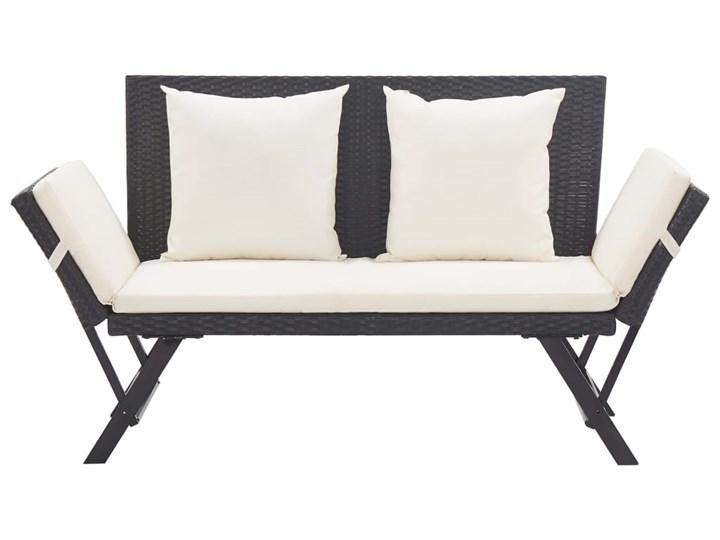 vidaXL Ławka ogrodowa z poduszkami, 176 cm, czarna, polirattan Z oparciem Stal Kolor Szary