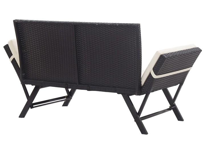 vidaXL Ławka ogrodowa z poduszkami, 176 cm, czarna, polirattan Stal Z oparciem Kolor Beżowy