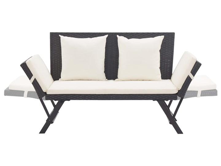 vidaXL Ławka ogrodowa z poduszkami, 176 cm, czarna, polirattan Kolor Szary Z oparciem Stal Kategoria Ławki ogrodowe