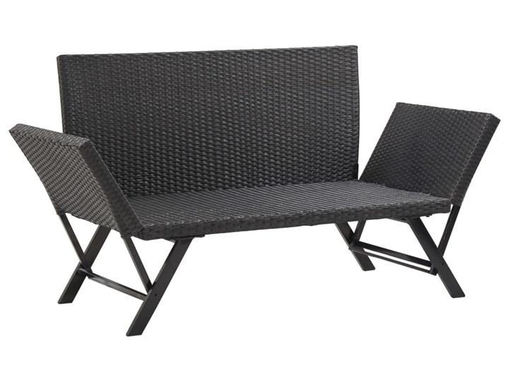 vidaXL Ławka ogrodowa z poduszkami, 176 cm, czarna, polirattan Kolor Beżowy Stal Z oparciem Kategoria Ławki ogrodowe