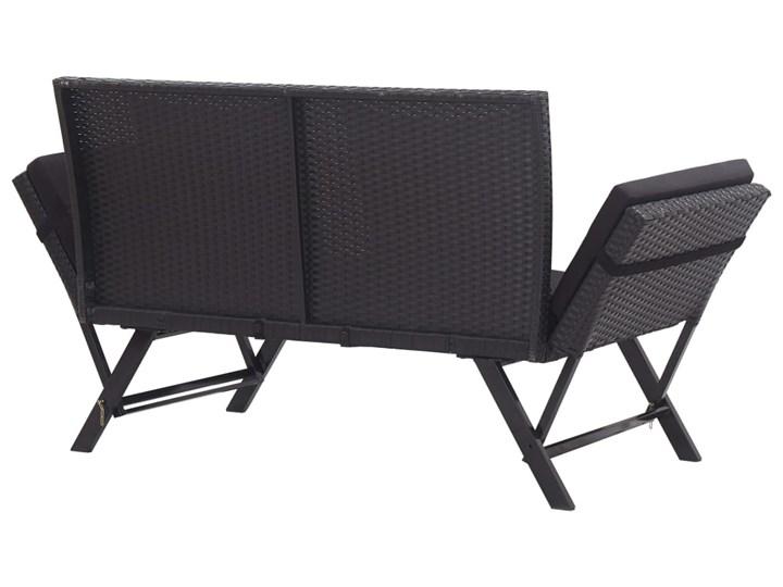 vidaXL Ławka ogrodowa z poduszkami, 176 cm, czarna, polirattan Z oparciem Stal Kolor Czarny