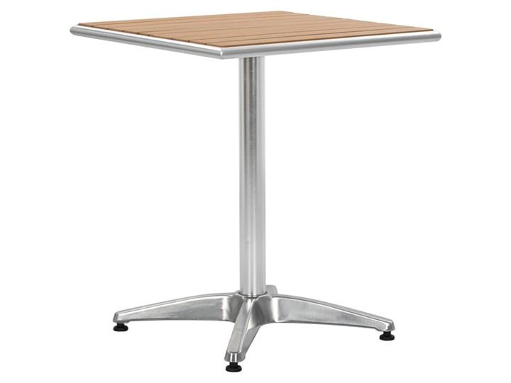 vidaXL Stół ogrodowy, srebrny, 60x60x70 cm, aluminium i WPC Tworzywo sztuczne Drewno Kolor Szary