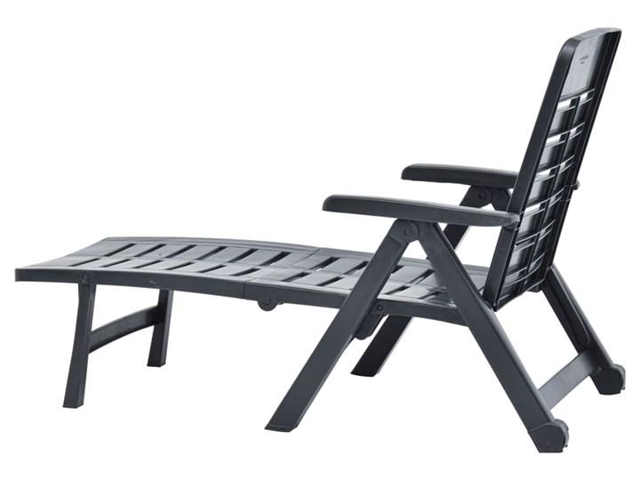 vidaXL Składany leżak, plastikowy, antracytowy Tworzywo sztuczne Z regulowanym oparciem Kategoria Leżaki ogrodowe Składane Kolor Czarny