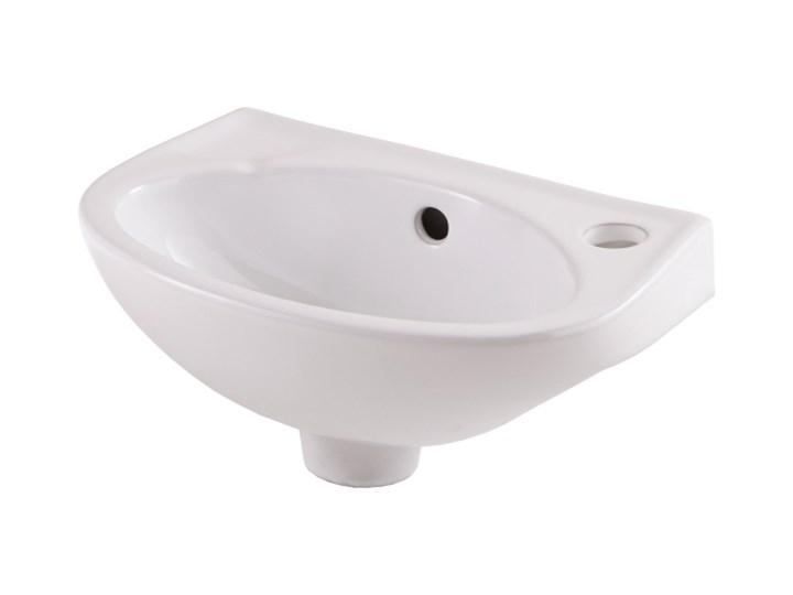 Umywalka ścienna ceramiczna GoodHome Bori 35 x 23 cm biała z otworem na armaturę Ceramika Półokrągłe Szerokość 35 cm Podwieszane Kolor Biały