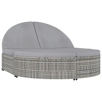 vidaXL 2-osobowy leżak z poduszkami, polirattan, szary