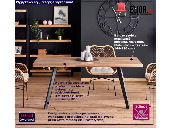 Rozkładany stół Marceo - orzech miodowy Szerokość 85 cm Długość 180 cm  Wysokość 76 cm Kategoria Stoły kuchenne Długość 140 cm  Kolor Czarny