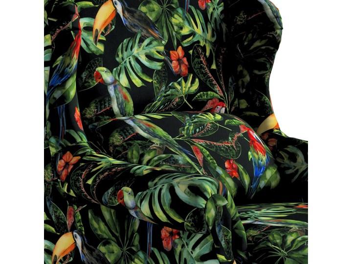 Fotel Unique, papugi i tukany na czarnym tle, 85 × 107 cm, Velvet Szerokość 85 cm Głębokość 74 cm Tkanina Drewno Szerokość 50 cm Głębokość 58 cm Styl Klasyczny