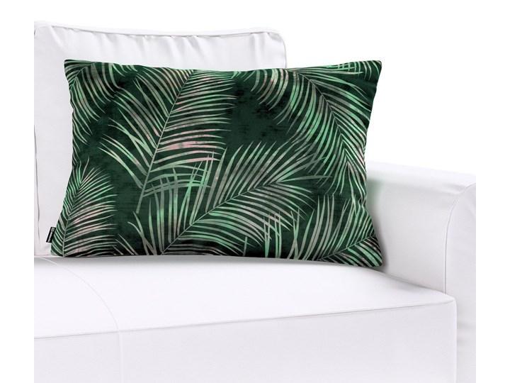 Poszewka Kinga na poduszkę prostokątną, zielony w liście, 60 × 40 cm, Velvet Wzór Roślinny Poszewka dekoracyjna 40x60 cm Poliester Prostokątne 45x65 cm Pomieszczenie Salon