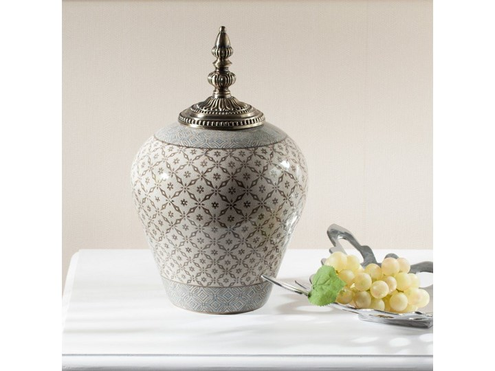 Waza ceramiczna Shiho z pokrywką 36cm, 36 cm Metal Kategoria Wazony Ceramika Kolor Szary