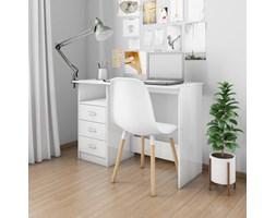 vidaXL Biurko z szufladami, wysoki połysk, białe, 110x50x76 cm