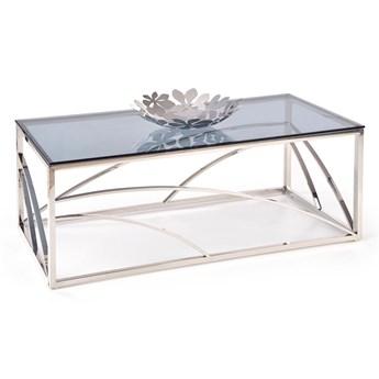 Szklana ława pokojowa z srebrną podstawą w stylu glamour Universe