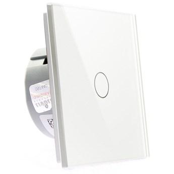 Włącznik dotykowy szklany pojedynczy (Nie wymaga żyły N) biały