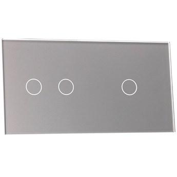 Włącznik dotykowy szklany potrójny 1+2 szary