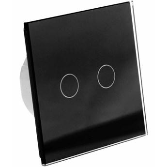 Włącznik dotykowy szklany podwójny (Nie wymaga żyły N) czarny