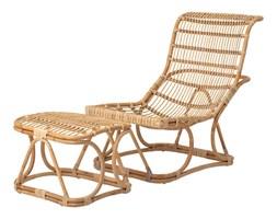 Krzesło rattanowe Lounge Eloise z podnóżkiem