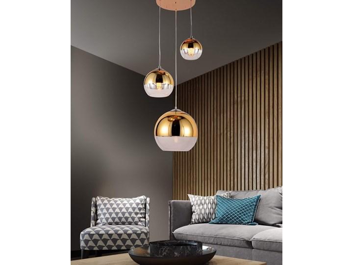 NOWOCZESNA LAMPA WISZĄCA ZŁOTA VERONI TRIO Szkło Kolor Złoty Metal Lampa z kloszem Lampa z abażurem Ilość źródeł światła 3 źródła