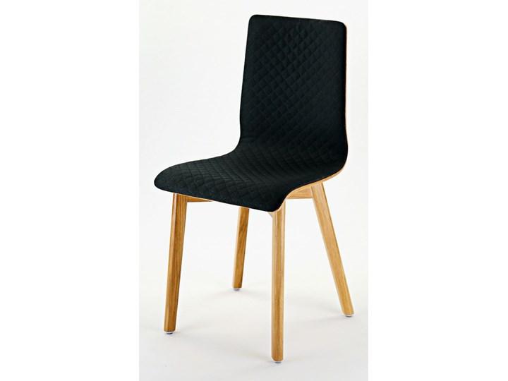 LUKA SOFT W krzesło dębowe, pikowana czarna tkanina