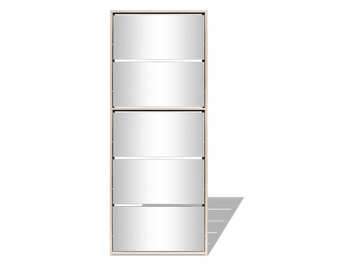 vidaXL Szafka na buty z 5 półkami i lustrem, kolor dębu, 63x17x169,5 Płyta MDF Drewno Kolor Srebrny