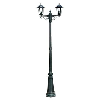 vidaXL Stojąca lampa ogrodowa 2-ramienna, 215 cm, ciemnozielona/czarna