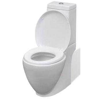 vidaXL Ceramiczna toaleta ze spłuczką, okrągła, odpływ pionowy, biała