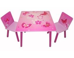 Komplet mebli dla dzieci, stolik i dwa krzesełka w różowe motylki i kwiatki